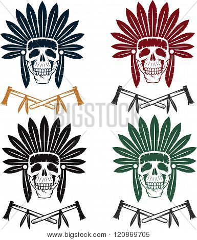Set Of Native American Chief Skull In Tribal Headdress With Tomahawks