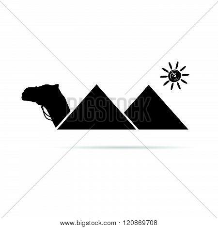 Pyramid With Camel Egypt Illustration