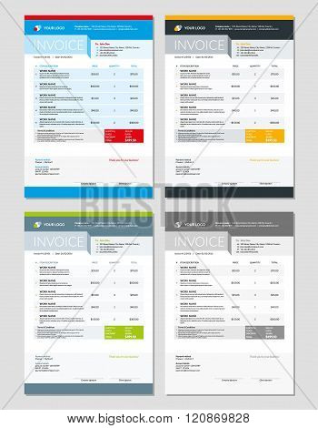Set Of Vector Invoice Design Templates. Stationery Design. Vector Illustration