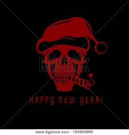 Skull With A Cracker In His Mouth And A Santa Claus Hat