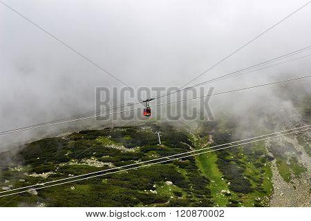 Cableway In Fog Green  European Mountains,  Beautiful Autumn Landscape