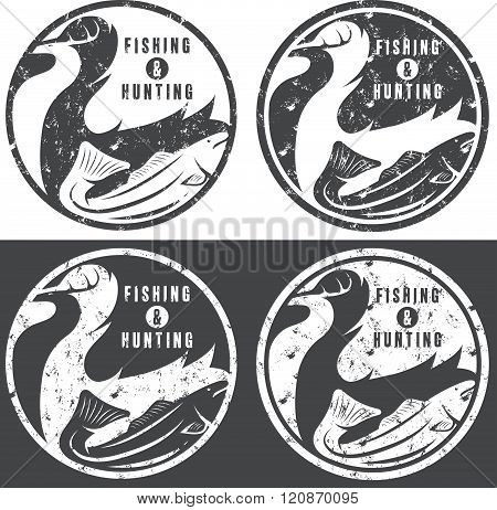 Negative Space Concept Of Hunting And Fishing Theme,vintage Grunge Vector Labels
