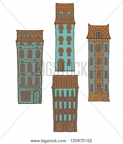 Vector Set Of Colored Hand-drawn Tiled Houses