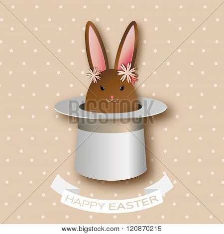 Origami Coffee Greeting card with Happy Easter - with Chocolate Easter rabbit and flowers