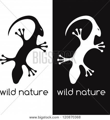 Lizard And Head Of Antelope Negative Space Concept