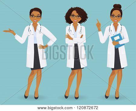 Set of three female doctors