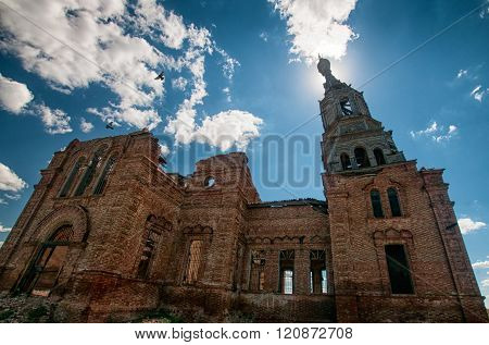 Orthodox church ruins, Saratov region, Russia