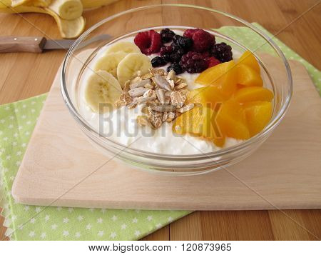 Soured milk with fruits, cereals and chia seeds