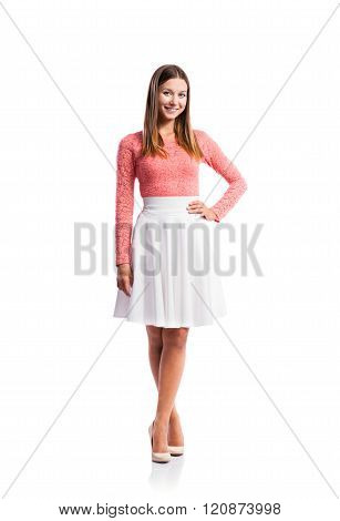 Girl, lace top, white skirt, heels, studio shot, isolated