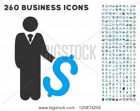 Investor Icon with Flat Glyph Set