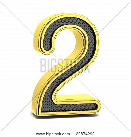 Golden and black round font. Number 2. 3D
