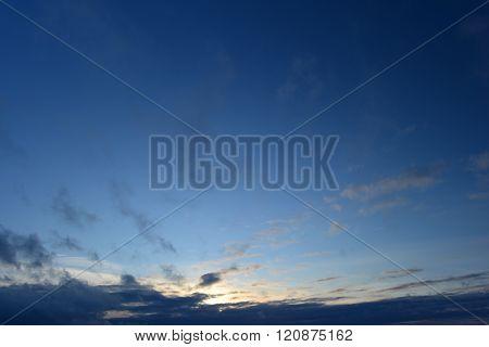 Good Winter Weather Evening Blue Sky At Sunset