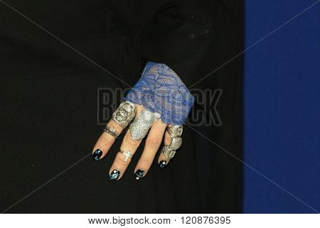 LOS ANGELES - FEB 23: B Akerlund, ring, nail polish detail at the 18th Costume Designers Guild Awards at the Beverly Hilton Hotel on February 23, 2016 in Beverly Hills, California