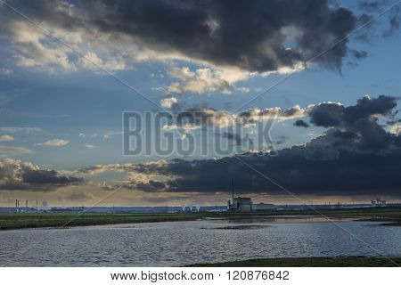 Twilight Over An Industrial Scene