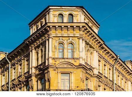 Corner of apartment building facade