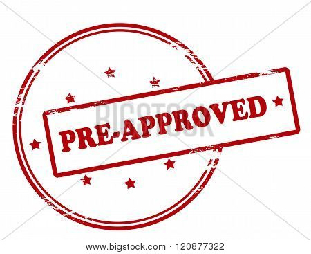 Rubber stamp with text pre approved inside vector illustration