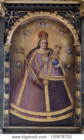 VUGROVEC, CROATIA - OCTOBER 02: Blessed Virgin Mary with baby Jesus altarpiece in the Church of Saint Saint Michael in Vugrovec, Croatia on October 02, 2015