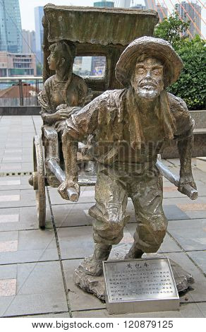 sculpture composition of rickshaw with vehicle, Chongqing