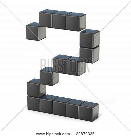 8 bit font. Number 2. 3D