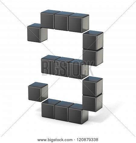 8 bit font. Number 3. 3D