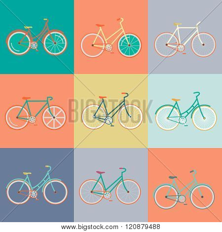 Vector flat modern urban town and city bicycles set. Stylish minimalistic flat vintage bicycle illustration. Retro Illustration Bicycle.