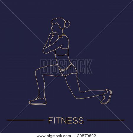 Fitness sports girl performs exercises. Female exercising silhouette. Keep fit exercise. Vector set of icons and signs in trendy linear style. Woman practicing fitness.