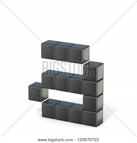 8 bit font. Lowercase letter A. 3D render illustration isolated on white background