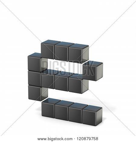 8 bit font. Lowercase letter E. 3D render illustration isolated on white background