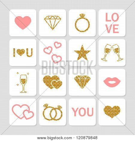 Set of love icons. Romantic shiny gold icons for valentine's day design greeting card decoration. Wedding and Love Icons. Gold Glitter Valentine icons. Golden letters. St. Valentine's Day icons. Vector illustration.