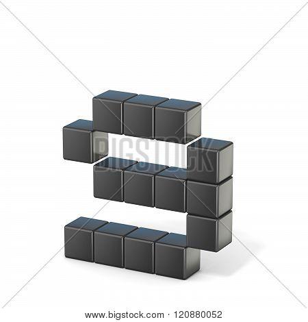 8 bit font. Lowercase letter G. 3D render illustration isolated on white background