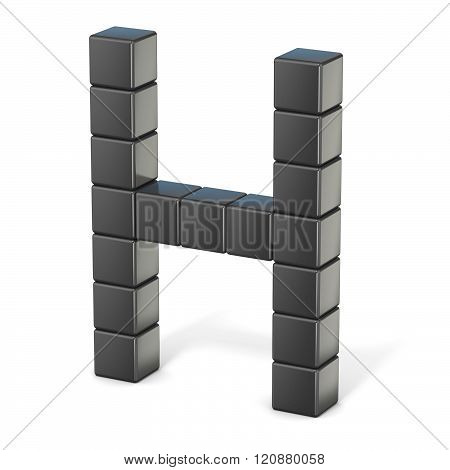 8 bit font. Capital letter H. 3D render illustration isolated on white background