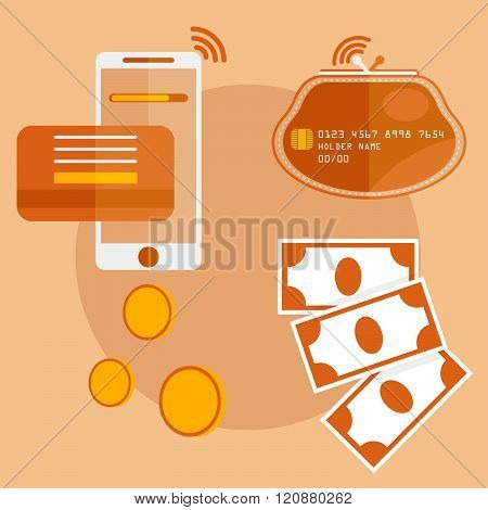 Flat Design Of Mobile Payment,credit Card And Electronic Wallet