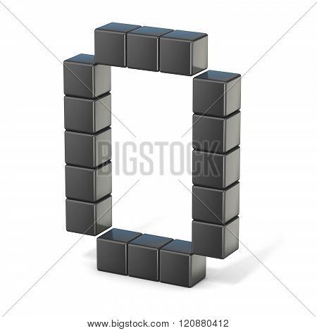 8 bit font. Capital letter O. 3D render illustration isolated on white background