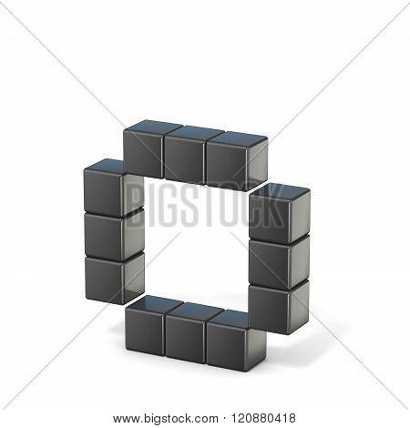 8 bit font. Lowercase letter O. 3D render illustration isolated on white background