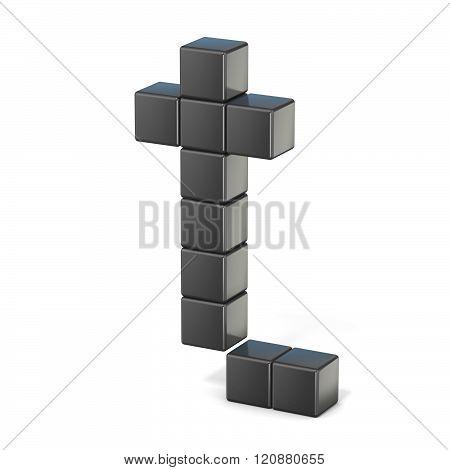 8 bit font. Lowercase letter T. 3D render illustration isolated on white background