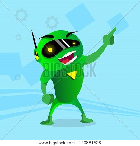 Green Robot In Digital Glasses Point Finger Up Hand