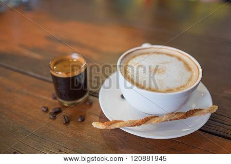 Hot Coffee In Cup And Hot Coffee Shot Wooden Table /hot Coffee And Hot Coffee Shot