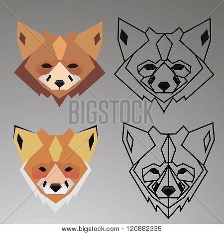 Fox Logo - Geometric Sign - Vector Logo Sign Template. Fox animal logo.