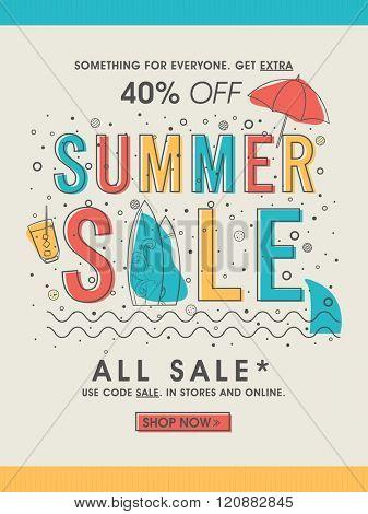 Summer Sale Banner, Sale Poster, Sale Flyer, Sale Vector. Vector illustration.