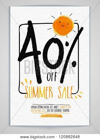 Summer Sale Banner, Sale Poster, Sale Flyer, Sale Vector. 40% Off. Vector illustration.