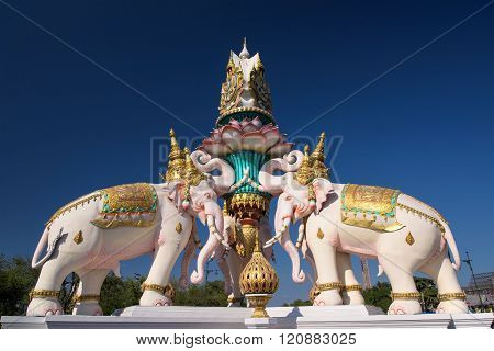 Pink Elephant Statue In Bangkok