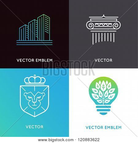 Vector Set Of Logo Design Templates And Emblems - Business And Finance Concepts