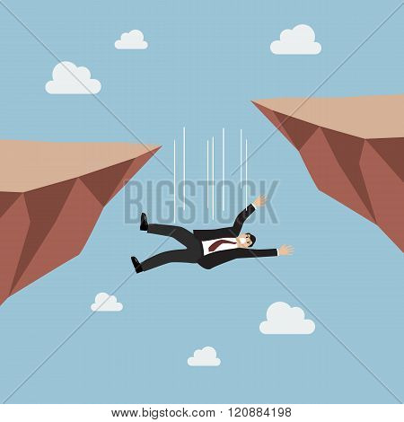 Businessman Falling Abyss