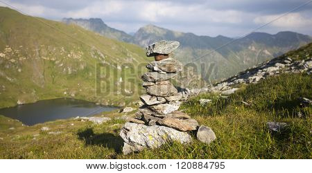 Rock stack at the european high mountains