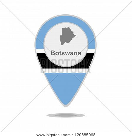 A pointer with map and flag of Botswana