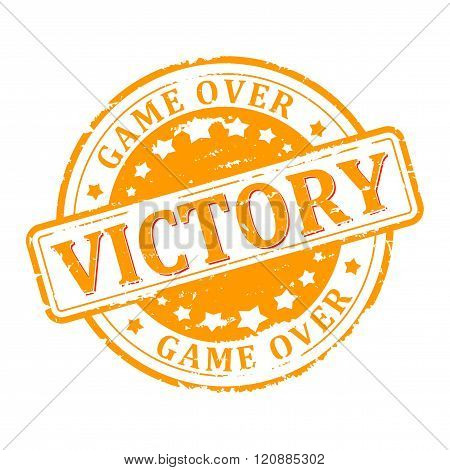 Damaged Round Yellow Stamped - Victory,  Game Over - Vector