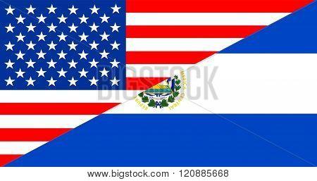 usa america el salvador half country language flag