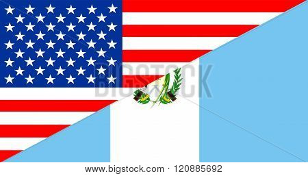 Usa Guatemala Half Flag