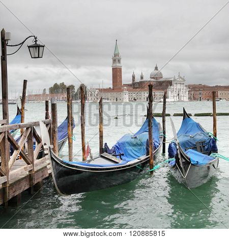 View of Venice at overcast day, Italy