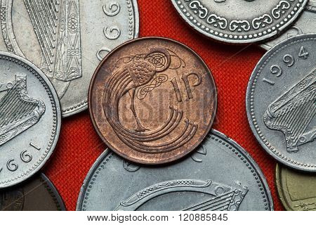 Coins of Ireland. Celtic ornamental bird depicted in the Irish one penny coin.